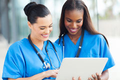 Medical workers laptop Royalty Free Stock Image