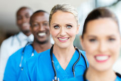 Medical workers line up Royalty Free Stock Images