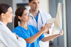 Medical workers working. Group of medical workers working together in hospital royalty free stock images