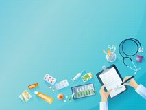 Medical workplace concept background. Color vector illustration. Medical workplace concept background with medical objects and doctor signs the prescription Stock Photo