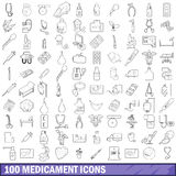 100 medicament icons set, outline style Royalty Free Stock Photos