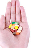 Medicament in the palm. Some medicament capsule and pill in the hand Royalty Free Stock Photography