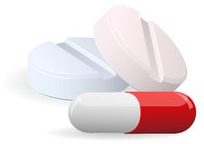 Medicament: two pills and capsulesover. Vector. Royalty Free Stock Images