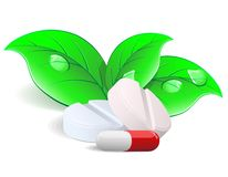 Medicament: two pills and capsulesover. Vector. Royalty Free Stock Photos