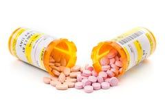 Medicamentação da prescrição em uns tubos de ensaio do comprimido da farmácia imagens de stock