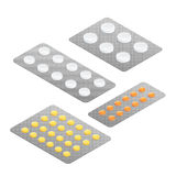Medicamentos de los diversos tipos, sistema de la píldora médica Cápsulas de las píldoras ilustración del vector