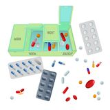 Medicaments and box with dosage for day set. Medicaments in bright capsules and pills, and box with certain dosage for day and backup isolated cartoon flat Royalty Free Stock Images