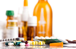 Medicaments  and insulin syringe Royalty Free Stock Image