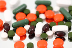 Medicine. Medicament pills of various kinds (vitamins, enzymes Royalty Free Stock Photo
