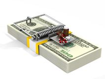 Medicaments in mousetrap. Isolated 3D illustration Royalty Free Stock Photos