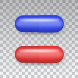 Medicaments top view vector of a red and blue oval pill on transparent background.  royalty free illustration