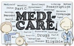 Medicare σε χαρτί με το ψαλίδισμα της πορείας Στοκ Φωτογραφίες