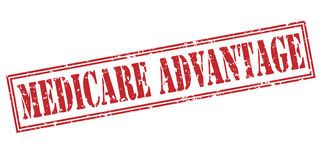 Medicare advantage red stamp. On white background stock illustration