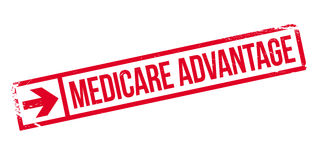 Medicare Advantage rubber stamp. Grunge design with dust scratches. Effects can be easily removed for a clean, crisp look. Color is easily changed Stock Images