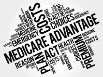 Medicare Advantage word cloud collage Stock Images