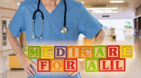 Medicare for All message built from wooden blocks. Medicare for All political policy for health insurance in wooden blocks against doctor background royalty free stock photo