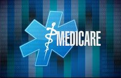 Medicare binary sign concept illustration design. Over black Stock Image