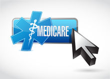 Medicare button technology sign concept. Illustration design over white Royalty Free Stock Photos