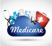 Medicare cloud technology sign concept. Illustration design over white Royalty Free Stock Photography