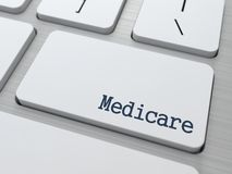 Medicare.  Medical Concept. Medicare - Medical Concept. Button on Modern Computer Keyboard. 3D Render Royalty Free Stock Image