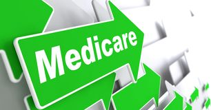 Medicare. Medical Concept. Medicare - Medical Concept. Green Arrow with Medicare Slogan on a Grey Background. 3D Render Stock Images