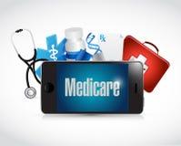 Medicare medical technology sign illustration. Design over white Royalty Free Stock Image