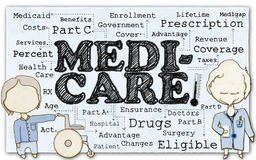 Medicare on Paper with Clipping Path. Drawing of Medicare with Stick Men and Clipping Path vector illustration