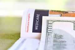 Medicare. Paper headline with hundred dollar bill royalty free stock images