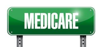 Medicare road sign illustration design. Over white Stock Photos