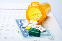 Medicare and social security. Pills and social security on account paper Royalty Free Stock Image