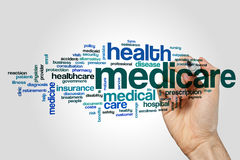 Medicare word cloud. Concept on grey background Stock Photo