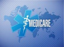 Medicare world map sign illustration design. Over blue Stock Photo