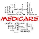 Medicare-Wort-Wolken-Konzept in den roten Kappen Stockfotografie
