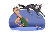 Medicating a cat. Cartoon illustration of a man giving medication to a cat vector illustration