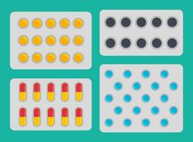 Medication Blisters Pills Set Vector Illustration. Medication blisters pills set of different types. Activated carbon and capsules in packages. Prescription of stock illustration