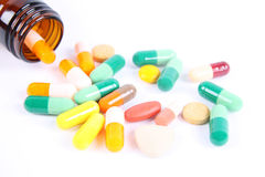 Medication with bottle Stock Images