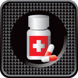 Medication bottle on black checkered web button Royalty Free Stock Photo