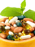 Medication in bowl, close up Royalty Free Stock Photos