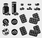 Medication, buttons, pills set. Vector. Medicine stock illustration