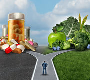 Medication Decision. Concept and natural remedy nutrition choices dilemma between healthy fresh fruit and vegetables or pharmaceutical pills and prescription stock illustration