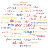 Medication. Different treatment medications, word tag concept. Illustration made in Royalty Free Stock Photo