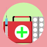 Medication first medical aid icon Royalty Free Stock Photos