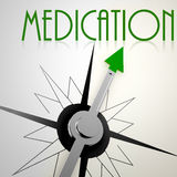 Medication on green compass Royalty Free Stock Photo