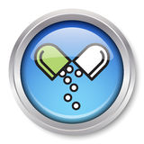 Medication Icon. Vector Medication Icon Glossy Metallic Button. EPS10 Stock Images