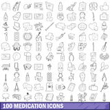 100 medication icons set, outline style Royalty Free Stock Images