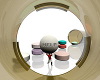 Medication. Man struggling under the weight of his medications Stock Images