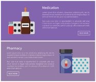 Medication Medicines Posters Vector Illustration. Medication medicines and pharmacy set. Production helping to recover soon. Containers filled with mixtures stock illustration