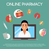 Medication online store banner vector illustration. Internet shopping. Female chemist selling drugs. Medicine, pharmacy. Hospital set of drugs with labels stock illustration