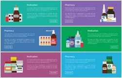 Medication Pharmacology Set Vector Illustration. Medication pharmacology set with medicine items. Syrups and mixtures in containers. Blister pills, ointments vector illustration