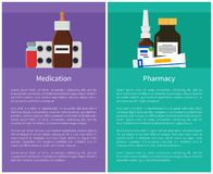 Medication and Pharmacy Items Vector Illustration. Medication and pharmacy items. Set made up of ointments in tube, activated carbon pills in package and glass vector illustration
